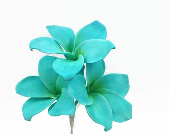 Plumeria Sugar Flowers in teal blue or tropical orange, wedding cake topper, gumpaste flowers, sugar flower cake decorations