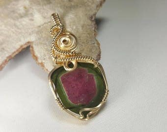 AA Quality Watermelon Tourmaline Silce Pendant in 14k Gold Filled Wire