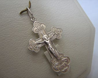 DISCOUNT 925 Sterling Silver CROSS Pendant Jesus Crucifix Russian Inscription Спаси и сохрани Christian Jewelry