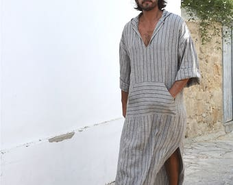 Mens grey striped linen kaftan. Front pocket. HOOD OPTIONAL.