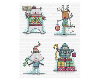 It's Christmas Jumper Time - Set of 4 - Durene J Cross Stitch - DJXS2239