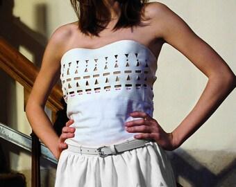White perforated ruffled skirt