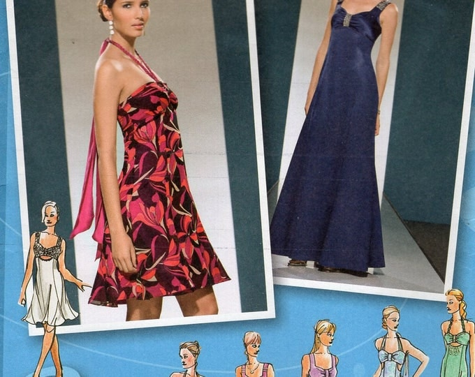 Simplicity 3501 Free Us Ship Sewing Pattern Project Runway Gown Evening Cocktail Dress Size 4/12 12/20 Plus Bust 29 30 31 32 34 36 38 40