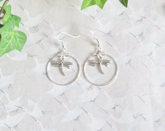 Earrings * dragonflies * silver plated, creole style