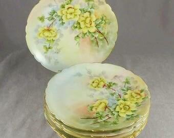 Limoges Dessert Plates, Vintage Jean Pouyat Limoges Floral Dessert Plates, French Artist Signed Dessert Plates, Set of Six