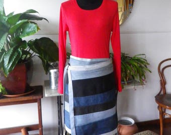 Recycled denim wrap skirt