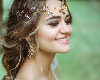 Rose Gold Hairpiece Bridal Hair Vine Rose Gold Wedding Hair Accessory Wedding Tiara Crystal Accessories Headpiece Crystal Bridal Accessory