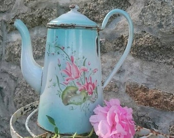 Pastel Colours Enamel Coffee Pot, Shabby French Enamelware, Pink Flowers, Turquoise Vintage Coffee Kettle,