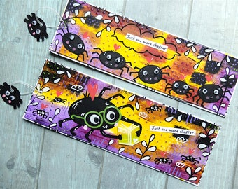 SALE 2 Bookmarks. Halloween Spiders. Just one more chapter. Hand painted. Cute animals. Book lover. Bookworm. Gift for her