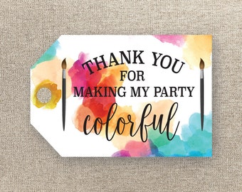 Art Party Favor Tags - Birthday Party Favour Tags - Printable Favour Tags - Painting Birthday Tags - Art Thank You Tags - Loot Bag Tags