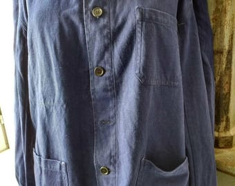 Vintage French Workman's Blue Linen Jacket