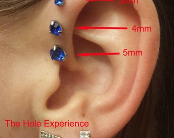 16g 6mm, Sapphire, Forward Helix Earring, Tragus, Cartilage, Earring, 3 Prong Setting, Triple forward Helix, September Birthstone