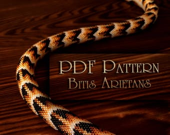 PDF Pattern for beaded crochet necklace - Jewelry patterns - Python pattern - Black and Gold necklace - Bitis Arietans