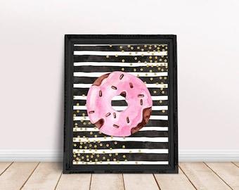 Donut Quote   Donut Print, Donut Watercolor, Food Art, Kitchen Art, Kitchen Decor, Immediate Download, Printable Poster, Digital Print