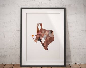 Texas Print | Texas Map, Texas Poster, Geometric State Art, Texas Wall Art, Geometric Texas Map, State Wall Art, Southern Wall Art