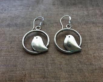 Silver Bird Earrings - Sterling Silver Earwires