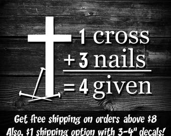 Christian Decal, forgiven, Window Decal, Christian Window Sticker, Faith Decal, Jesus Decal, christian car decal, laptop decal, 4given