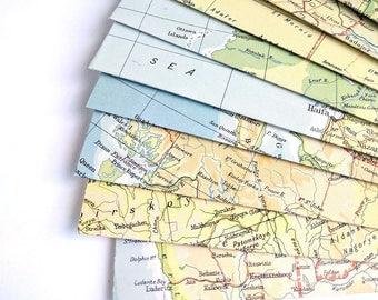 Snail Mail Stationery, Vintage Map Envelopes, Atlas Envelopes, Mailing Envelope, Mail Art, Penpal Letter Writing, Set of 4, Repurposed Paper