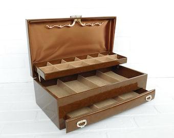 Vintage Buxton Jewelry Storage Box Chest, Brown Buxton Dresser Box, Jewelry  Storage