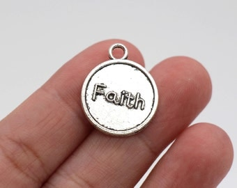 6 Pcs Faith Charms Antique Silver Tone 2 Sided 19x23mm - YD1479