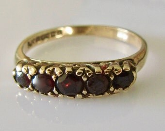 9ct Gold Garnet Half Band Ring Size UK M USA 6