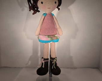 Curly  Amigurumi Crochet Girl Doll