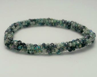 Random Pattern Beaded Bangle Bracelet