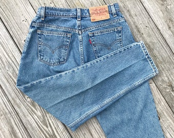 Vintage 550 Levi's Everyday Wash High Waisted Relaxed Fit Petite Tapered Leg Jeans | small | medium | 28 | 29