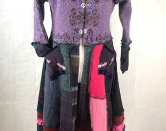 Purple Alpaca Topped Wool and Wool Blend Upcycled, Recycled Sweater Coat