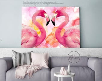 FLAMINGO EMBRACE - Watercolour Art Print Poster Canvas - On Trend