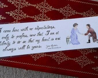 Sense and Sensibility  - Handpainted Original Watercolor Jane Austen Quote Bookmark