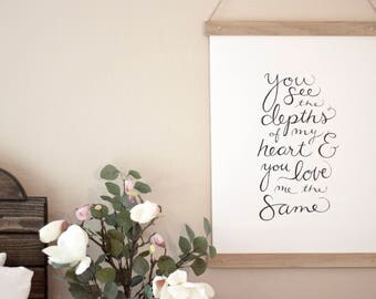 Hand lettered Calligraphy Wall Hanging with Wooden Poster Frame