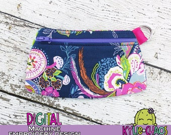 Clutch Zippered Pouch ITH In the Hoop Machine Embroidery Design Pattern