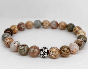 Women's natural agate bracelet with a bali sterling silver bead
