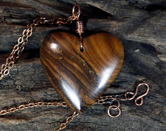 Lovely Sparkles -  Boulder Opal Heart Pendant on Copper Necklace - Boho Gift, Ladies, Girls, Valentines