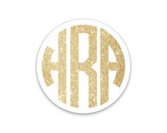 Gold and White Monogram STICKER, Mini Stickers, Phone Sticker, Popsocket Sticker, Stickers for Popsockets, Pop socket Stickers