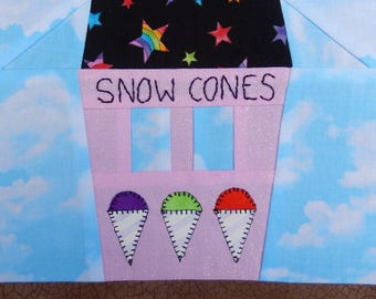 Snow cone or shaved ice stand foundation paper pieced PDF quilt block pattern; downloadable summer quilt block pattern; Ms P Designs USA