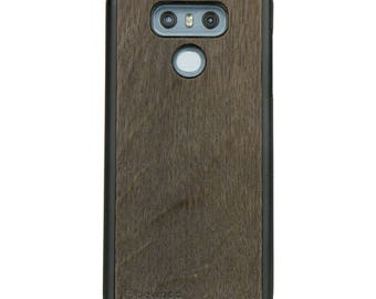 LG G6 - Smoked Oak -  Wood Case - Real Wooden Case - Black Bumper