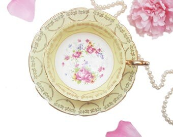 Ornate Pastel Yellow Regency Teacup, Pink Yellow Floral Tea Cup, Bone China, Anniversary Gift