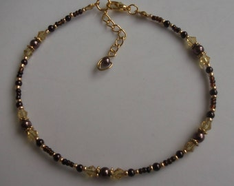 Brown glass beaded anklet, pearl anklet, ankle bracelet, beaded anklet, beach anklet, seed bead anklet, boho anklet, boho jewellery
