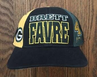 Vintage 90s Green Bay Packers Brett Favre NFL Snapback Hat Baseball Cap