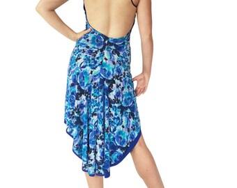 Blue Roses; Reversible Tango Dress; Fishtail Tango Dress; Milonga Dress