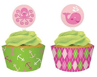 Ocean Preppy ''Girl'' Cupcake Wrappers with Toppers Pack (12ct each)