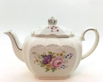 Sadler Floral Cube Teapot - Tea Party- Shabby Chic Home Decor