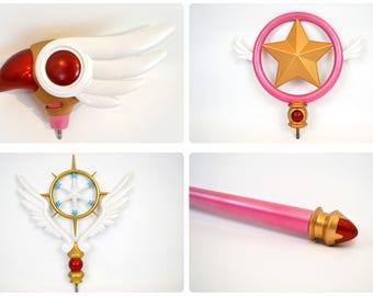 Cardcaptor Sakura All Three Interchangeable Wand Heads with Staff