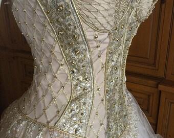 Bob Mackie Vintage Gold Beaded Corset Top Ballerina Gown