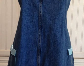 Denim full apron, womens denim apron dress, Aqua blue grosgrain ribbon ties, dark blue denim, shabby chic, upcycled denim, aqua check trim,
