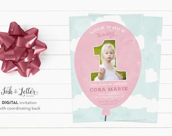 First Birthday Invitation Girl - Photo Birthday Invitation - Girl Birthday Invitation - Custom Birthday Invites - Digital Invitations