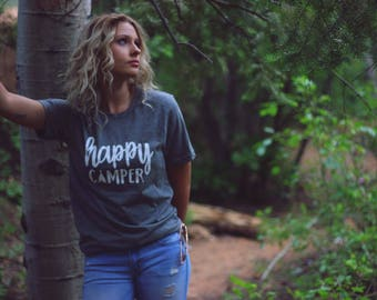 Camping Shirt - Happy Camper Shirt - Adventure Shirt - Hiking Shirt - Mountain Shirt - Happy Camper - Mountains Shirt - Hiking - Outdoor