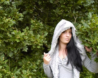 Reversible soft hood/ Sequin hood/ Faux fur hood/ Grey sparkle hood/ Spirit hood/ Rave hood/ Festival hood/festival gifts/sequin spirit hood